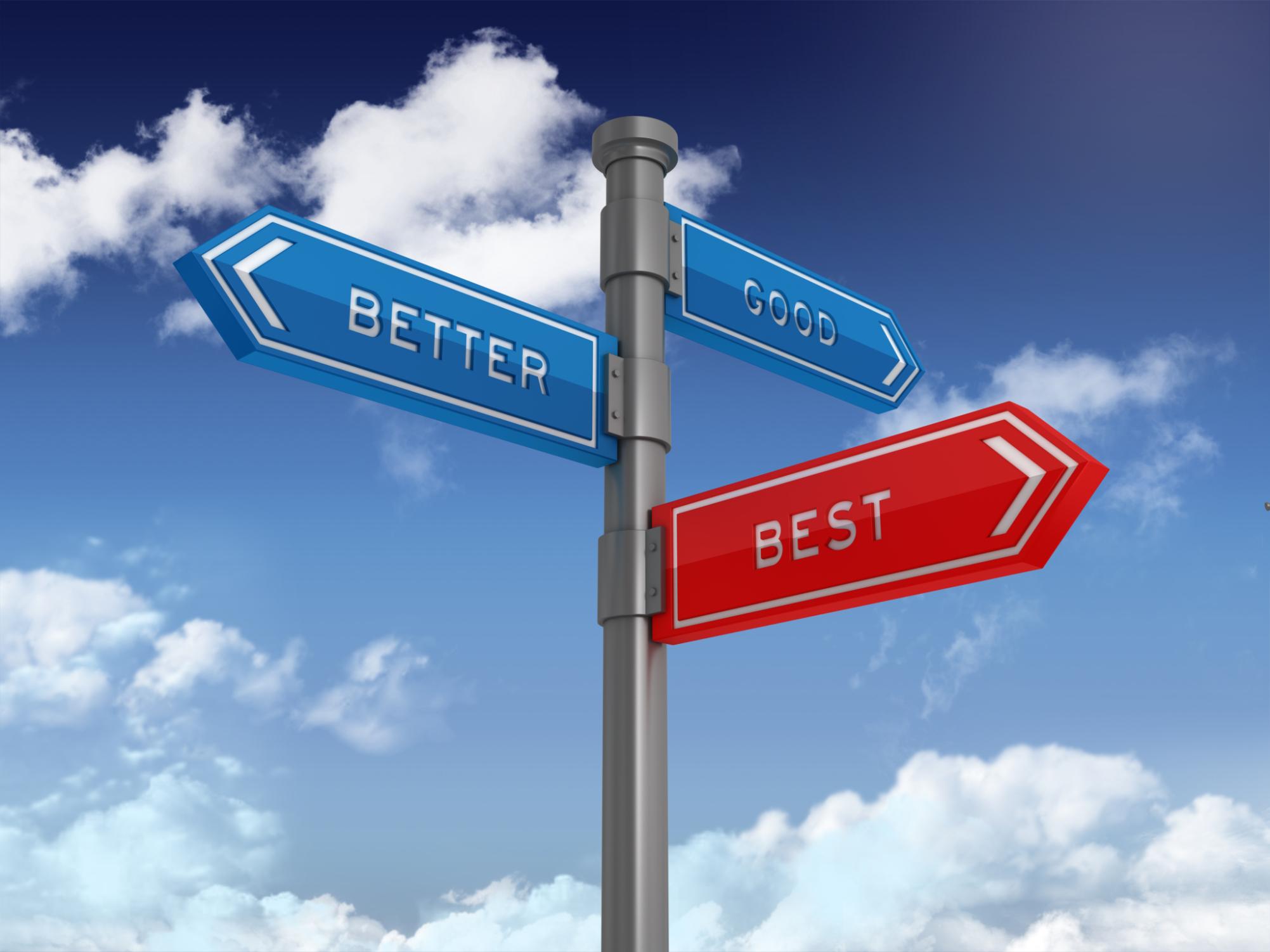 Directional Sign Series: GOOD BETTER BEST